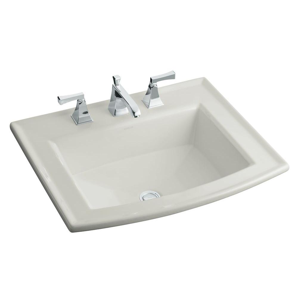 Archer Drop In Glass Bathroom Sink In Ice Grey With Overflow Drain