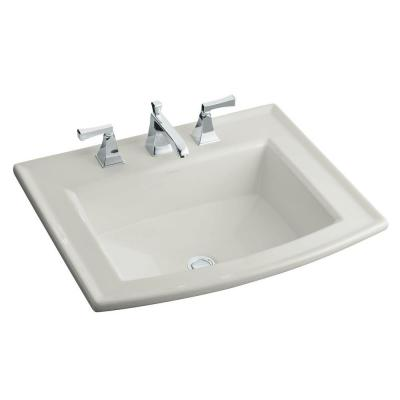 Archer Drop-In Vitreous China Bathroom Sink in Ice Grey with Overflow Drain
