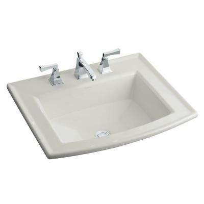 Archer Drop-In Glass Bathroom Sink in Ice Grey with Overflow Drain