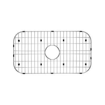 Single Bowl Kitchen Sink Grid Set in Brushed Stainless Steel