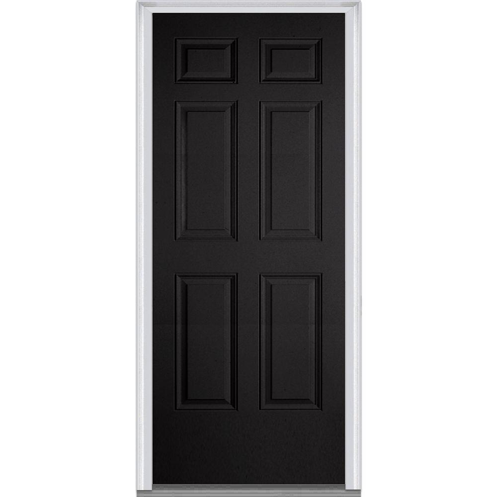 MMI Door 36 in. x 80 in. Left-Hand Inswing 6-Panel Classic Painted Fiberglass Smooth Prehung Front Door