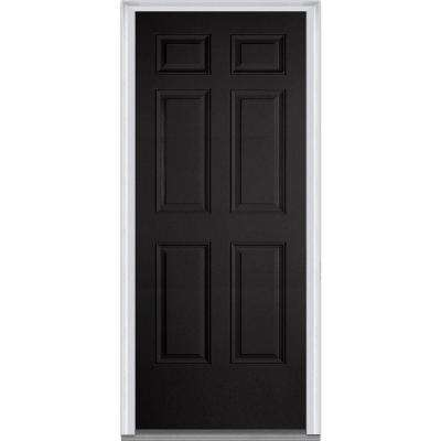 32 in. x 80 in. Left-Hand Inswing 6-Panel Classic Painted Fiberglass Smooth Prehung Front Door