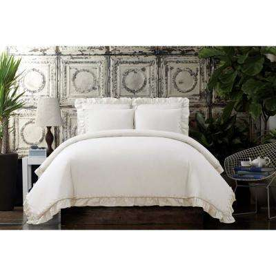 Voile Ivory Full / Queen Duvet Set