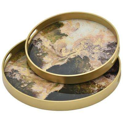 1.5 in. Brown Glass Round Decorative Tray (Set of 2)