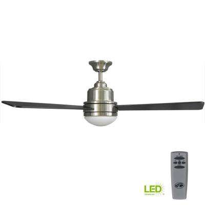 Trieste 52 in. LED Indoor Brushed Nickel Ceiling Fan with Light Kit and Remote Control
