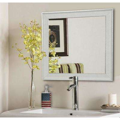 19.5 in. x 19.5 in. Vintage White Square Vanity Wall Mirror