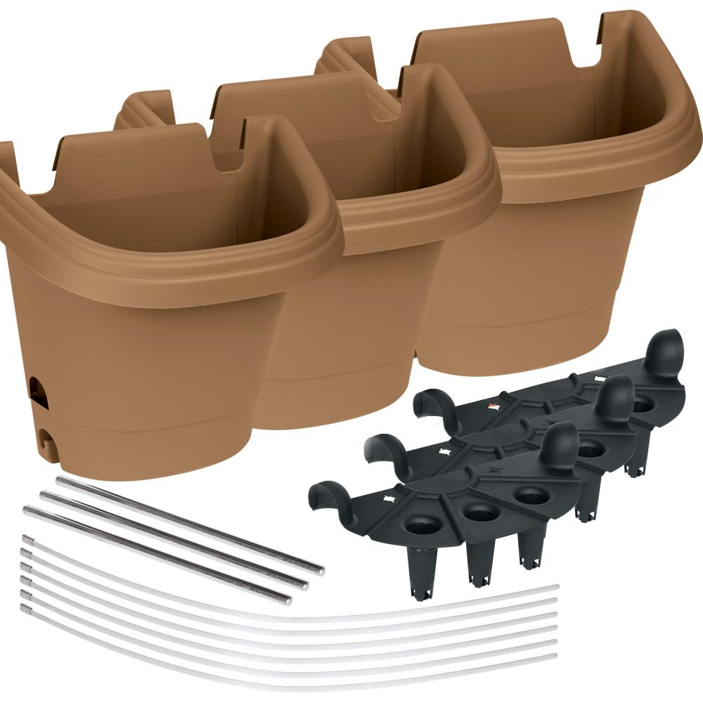 Hanging Garden 3 Piece Chocolate Plastic Planter System