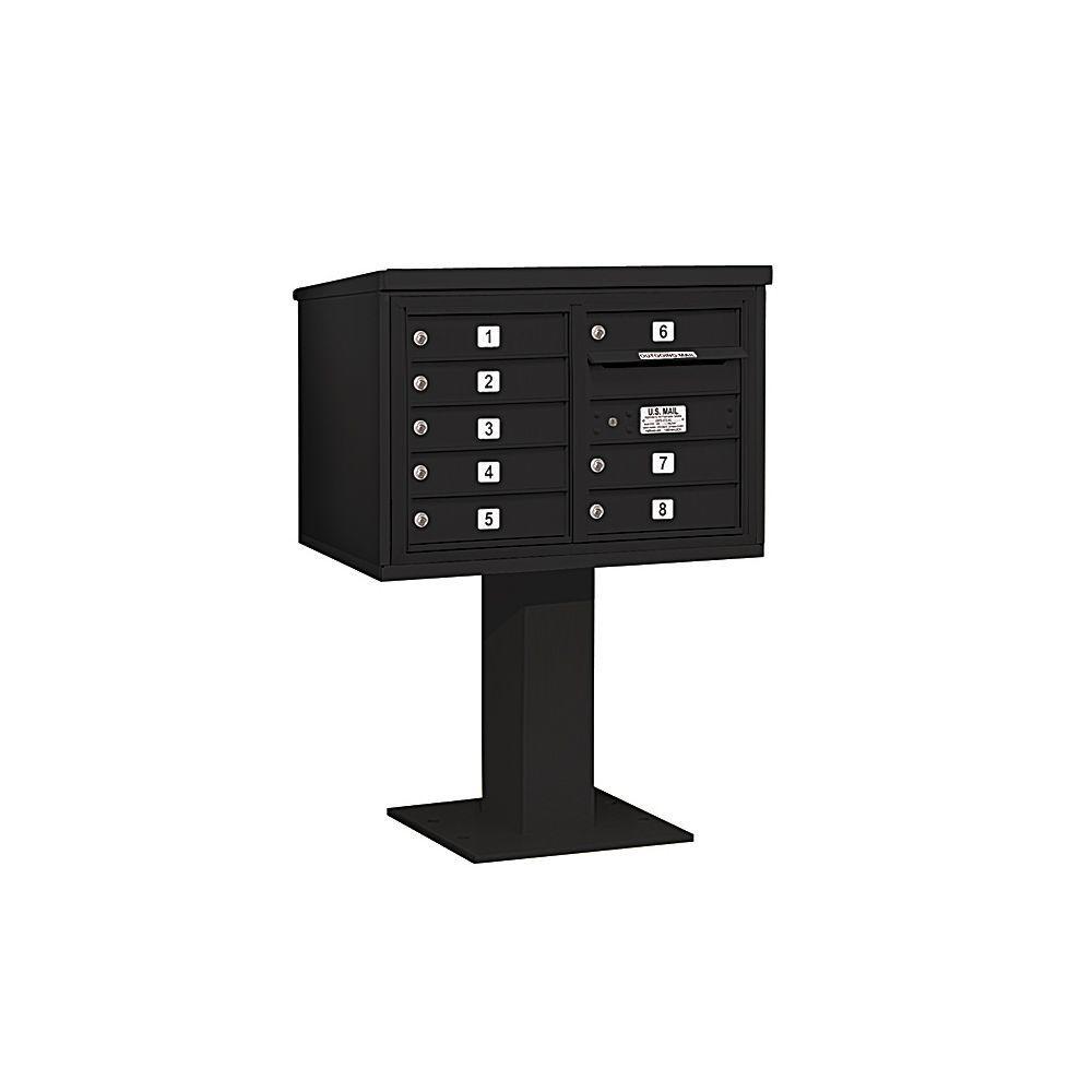 3400 Series 48-1/8 in. 5 Door High Unit Black 4C Pedestal Mailbox with 8 MB1 Doors