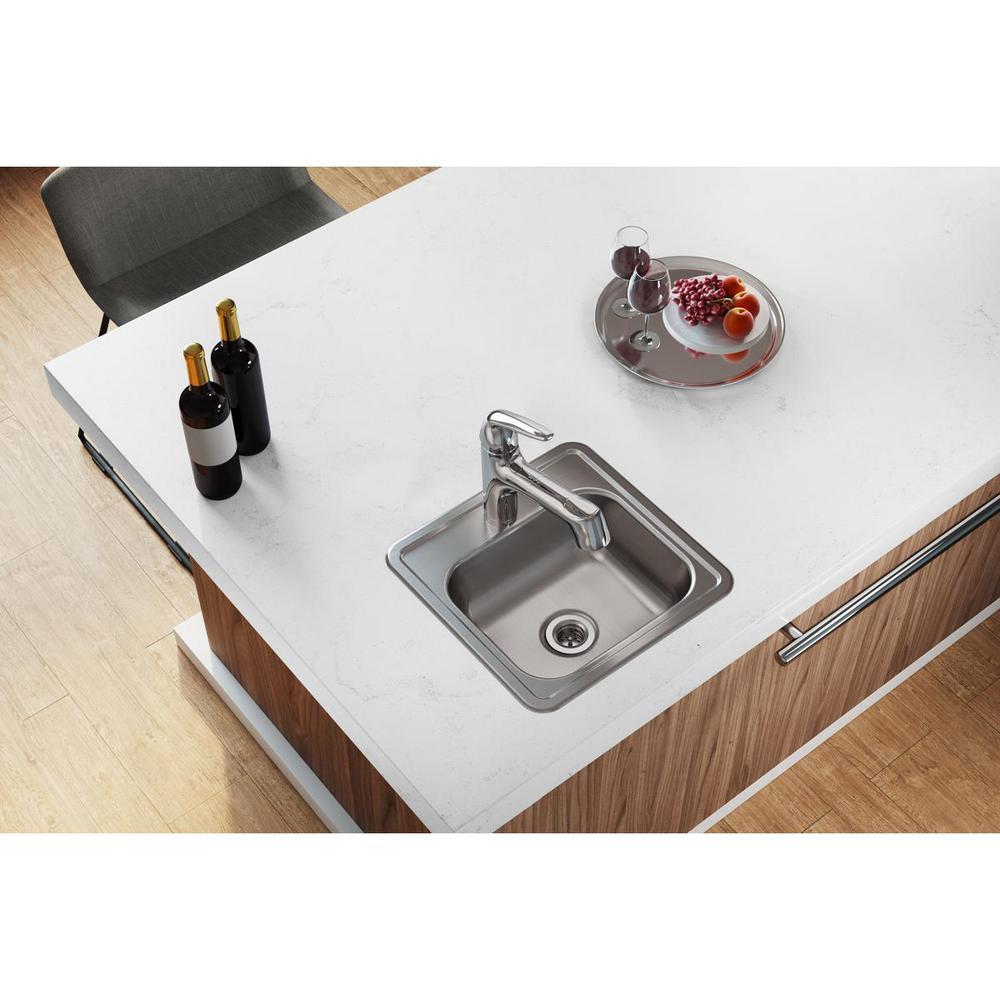 Dayton Drop-in Stainless Steel 15 in. 1-Hole Bar Single Bowl Kitchen Sink