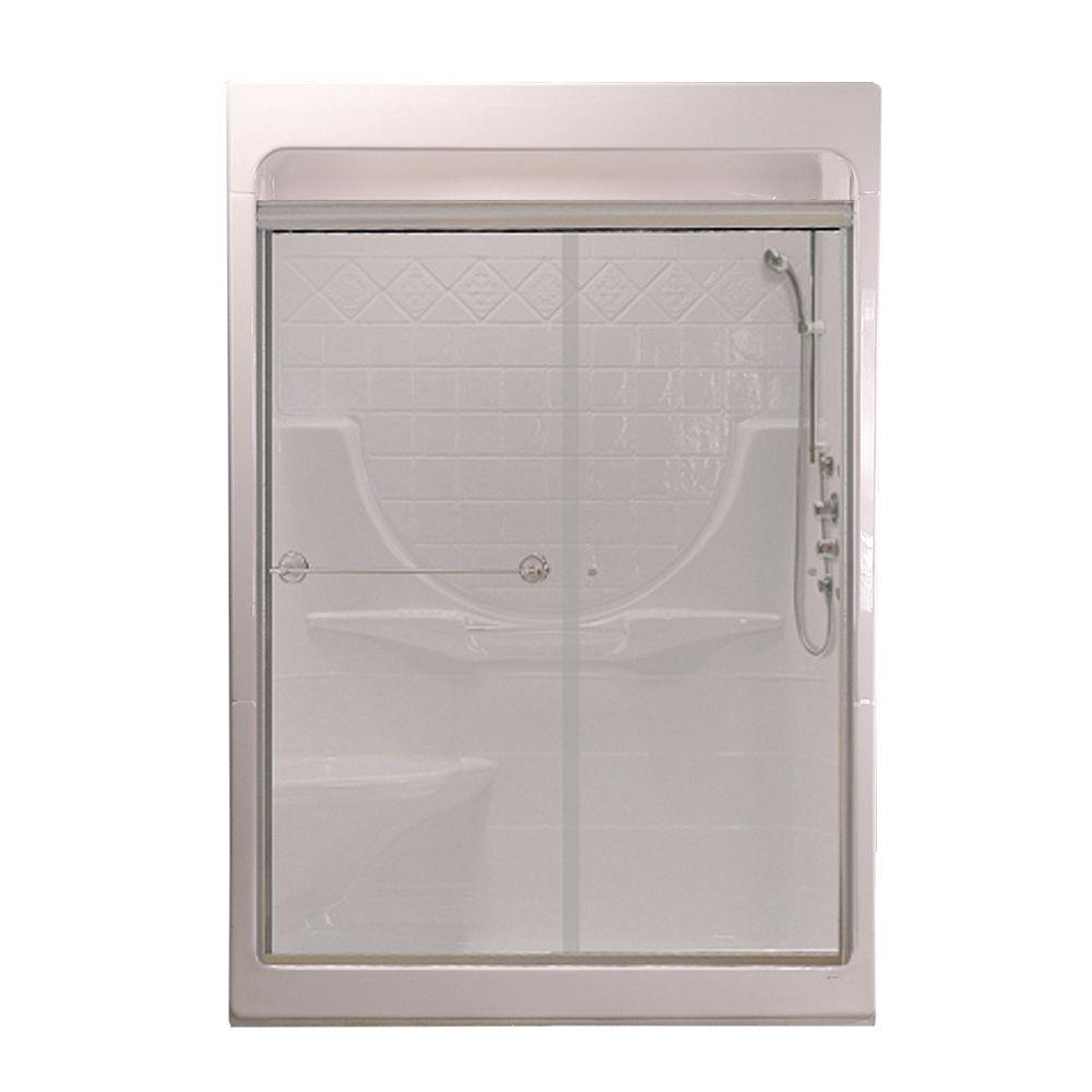 MAAX Montego 33 in. x 59 -1/4 in. x 84-5/8 in. Shower Kit with Massage System Left-Hand in White with Clear Glass Door