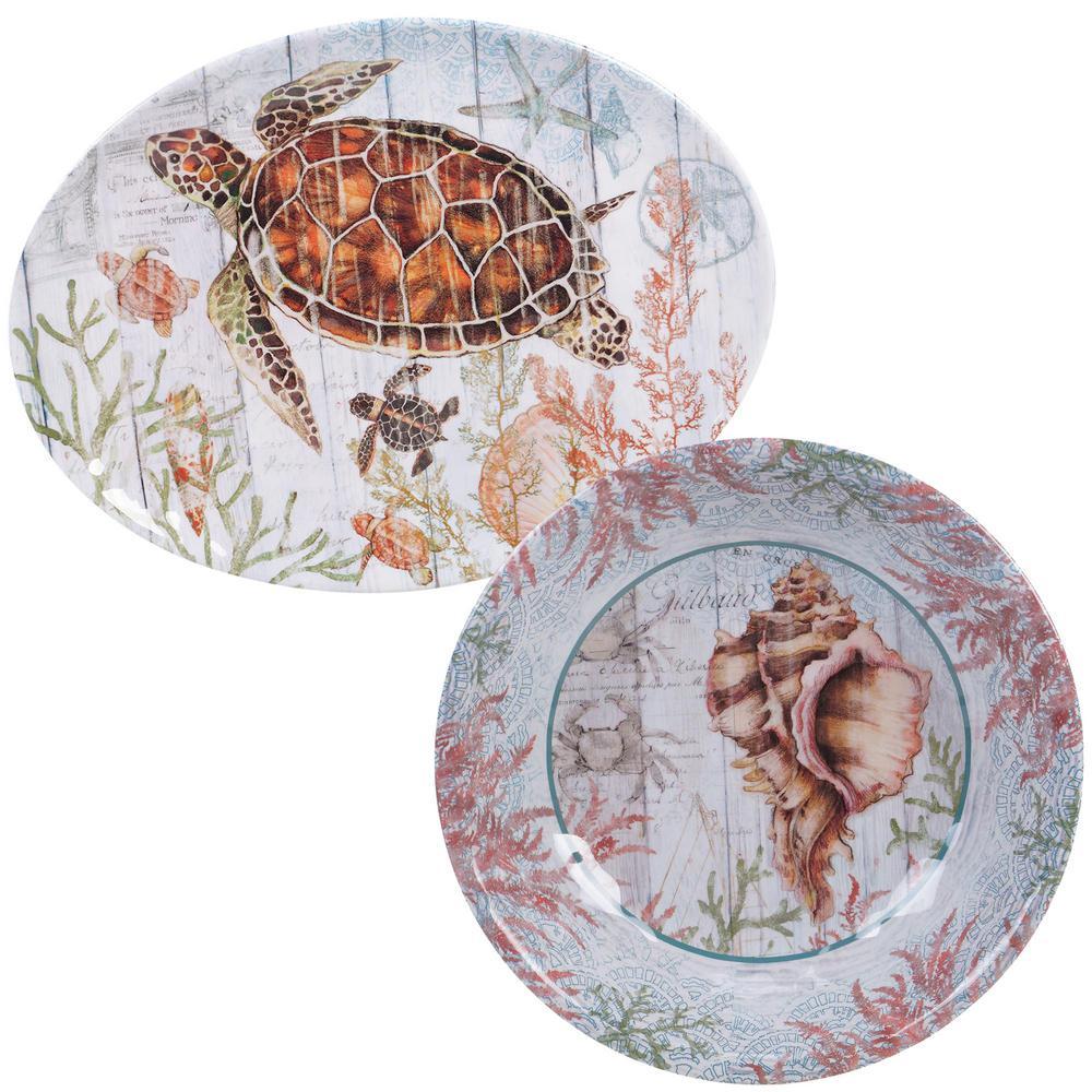Certified International Sanibel 2-Piece Melanine Platter Set SAN2PC