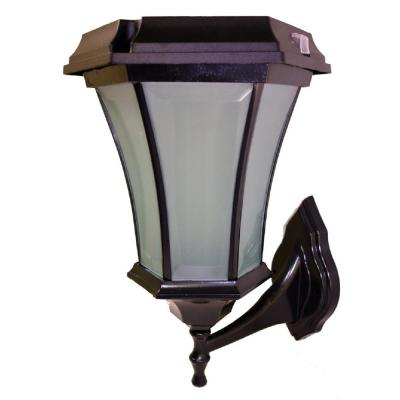 Black Solar LED Outdoor Flicker Flame Wall Mount Coach Lantern