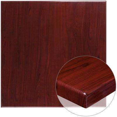 36 in. Square High-Gloss Mahogany Resin Table Top with 2 in. Thick Drop-Lip