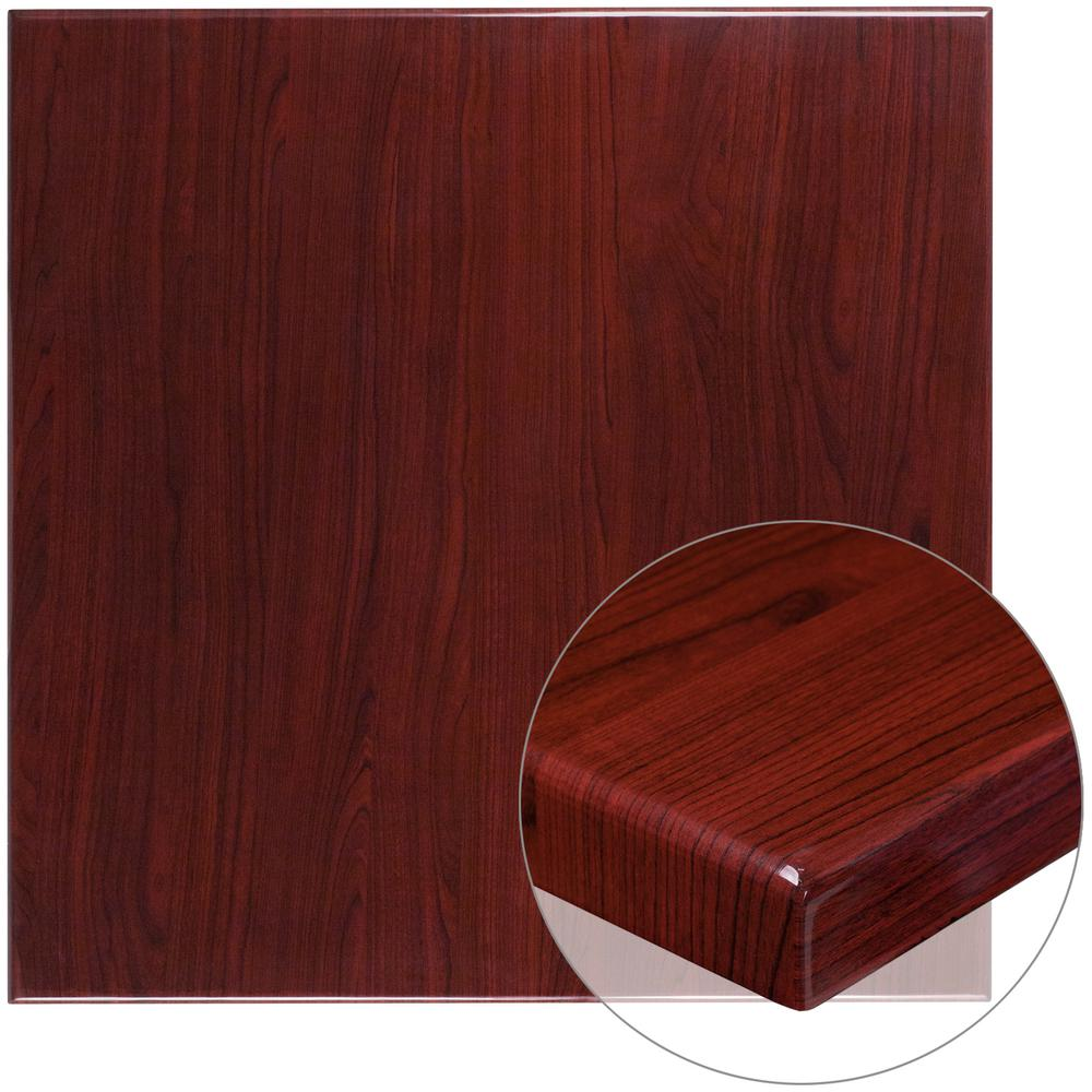 36 in. Square High-Gloss Mahogany Resin Table Top with 2 in.