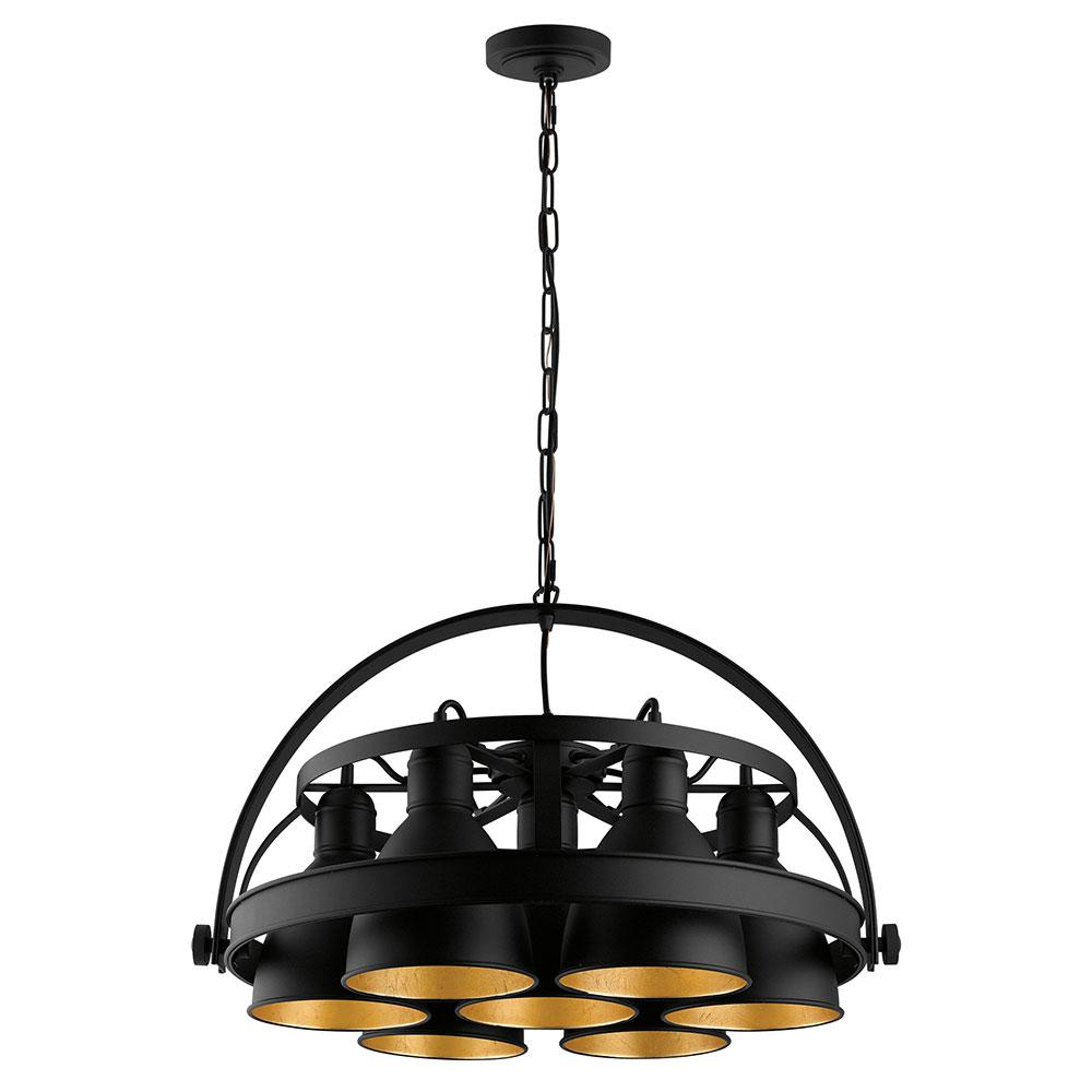 Eglo Priddy 2 7x60-Watt 7-Light 21 in. Industrial Pendant with Black