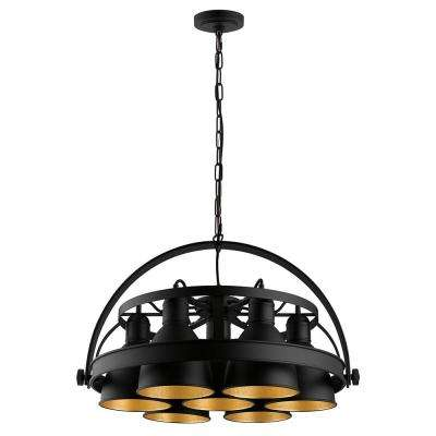 Priddy 2 7x60-Watt 7-Light 21 in. Industrial Pendant with Black