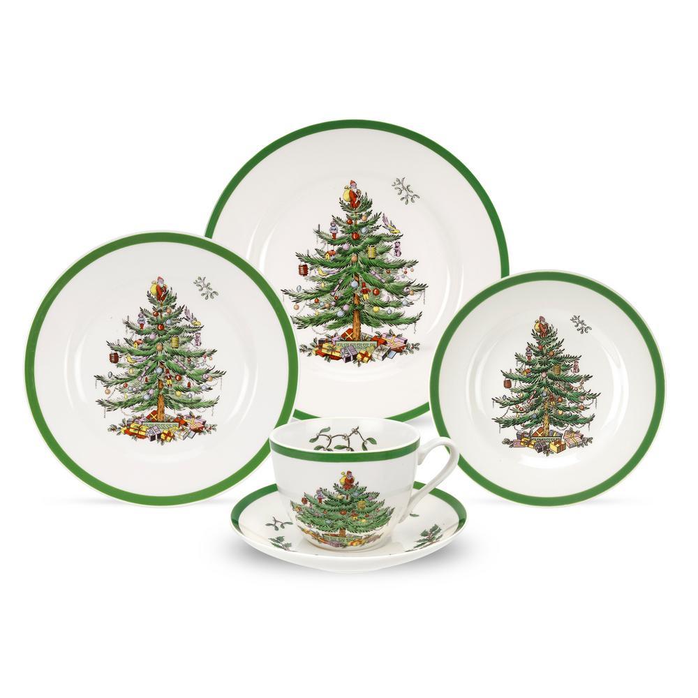 Christmas Tree 5-Piece Ceramic Dinnerware Set (Service for 1)