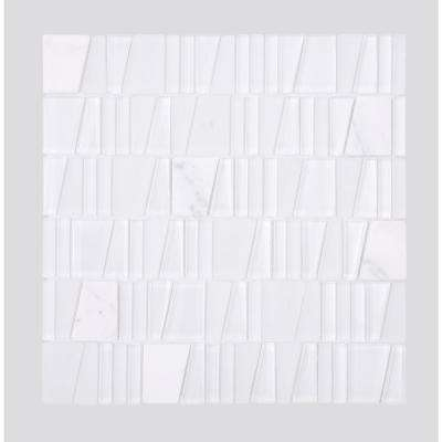 Seville  White 12 in. x 12 in. x  8 mm Glass and Stone Mosaic Tile 5 sq. ft. / box