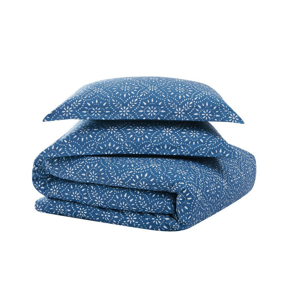 Katrine 3-Piece Blue Cotton Full/Queen Comforter Set