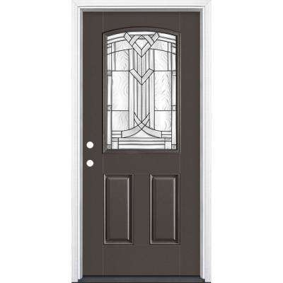 36 in. x 80 in. Chatham Camber 1/2 Lite Right Hand Painted Smooth Fiberglass Prehung Front Door w/ Brickmold,Vinyl Frame