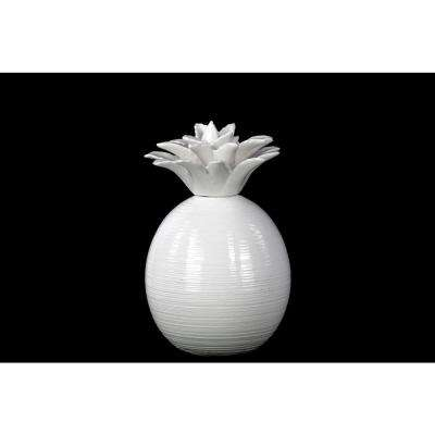 8.5 in. H Pineapple Decorative Figurine in White Gloss Finish