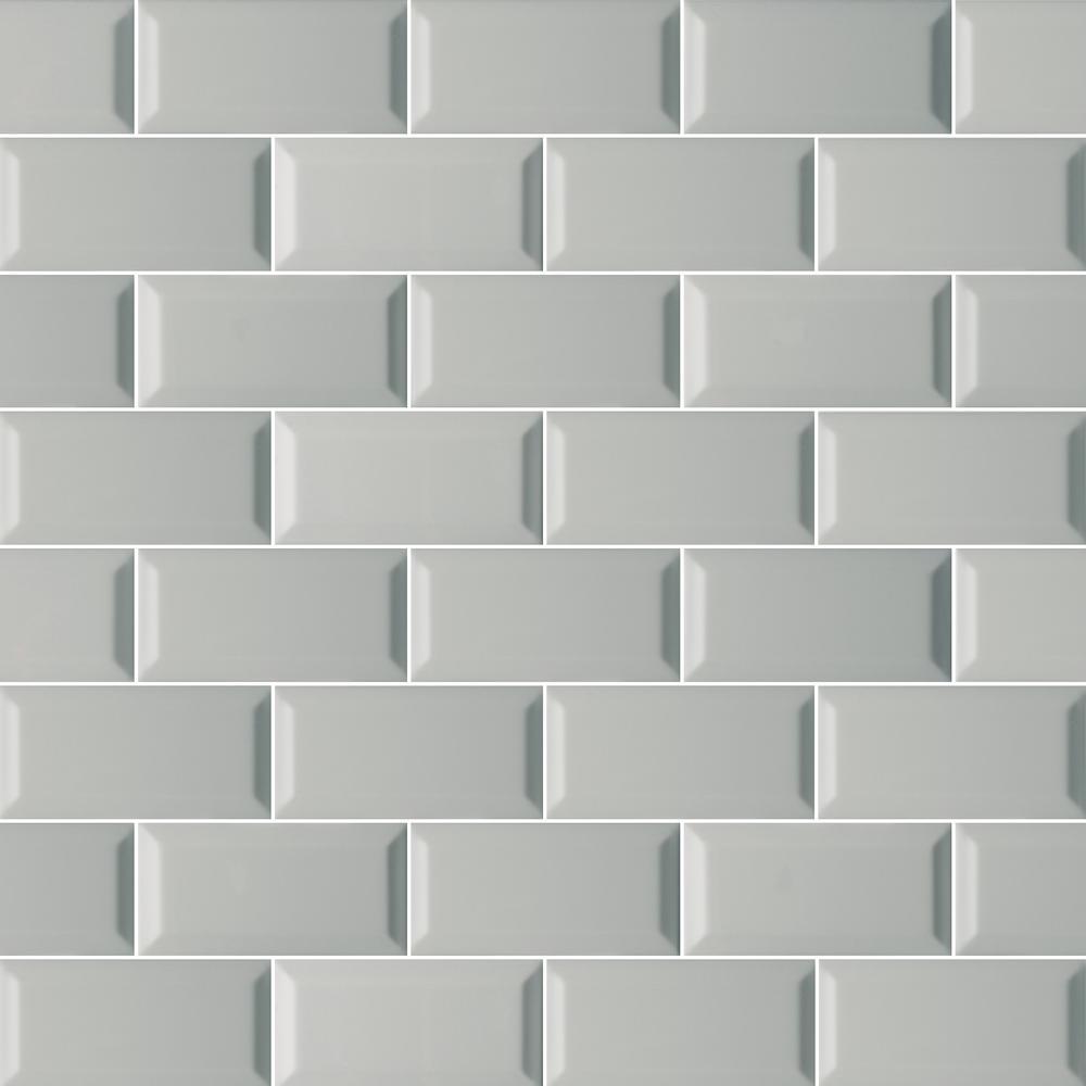 Msi Gray Beveled 3 In X 6 In Glossy Ceramic Gray Subway Tile 1 Sq Ft Case Ngraglo3x6bev The Home Depot