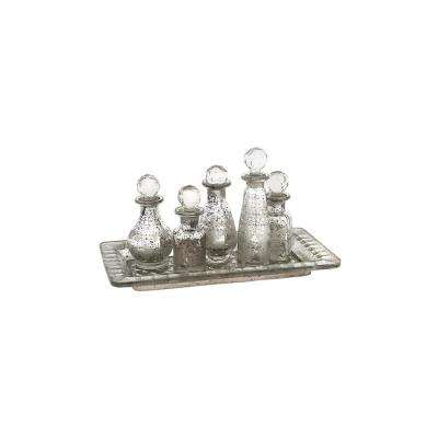 Macaire Antique Silver Glass Mini Bottles with Tray