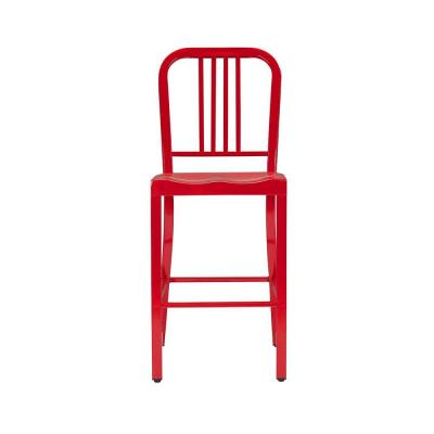 Kipling Ruby Red Metal Counter Stool with Back (16.54 in. W x 38.98 in. H)