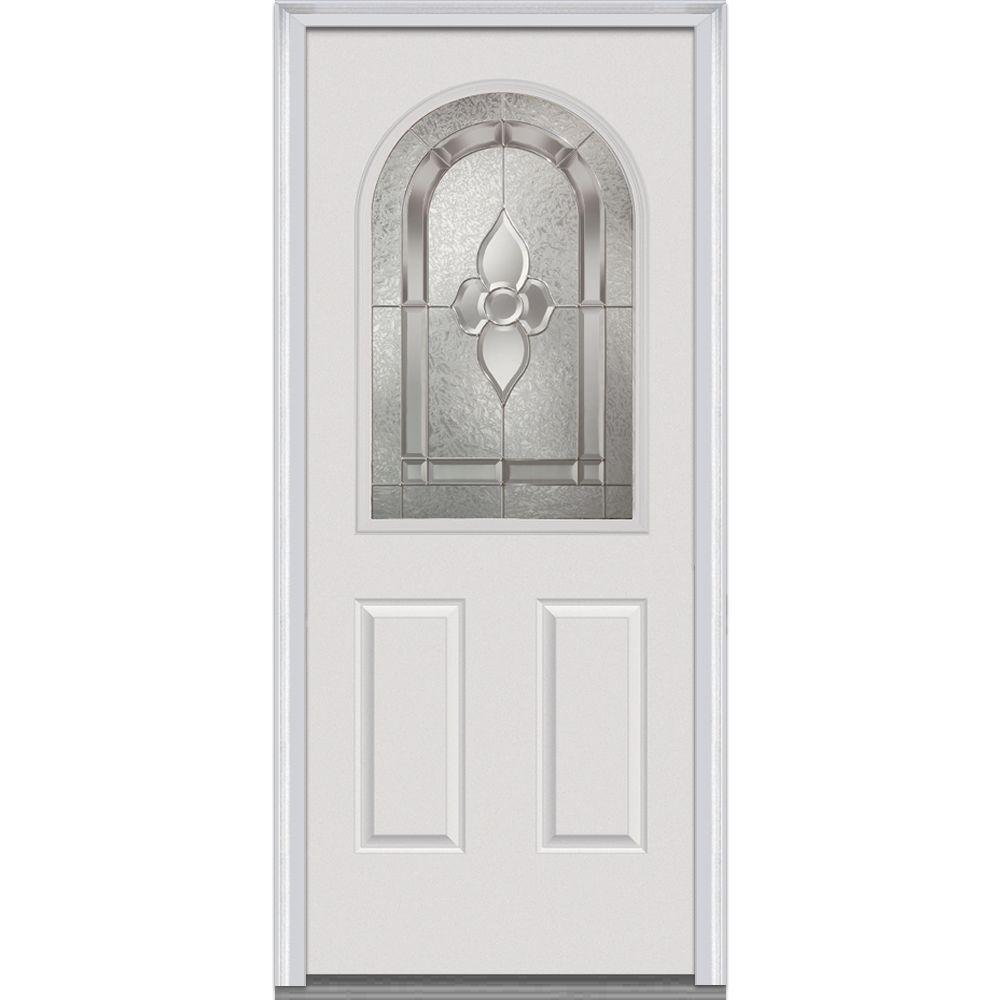 Milliken Millwork 32 in. x 80 in. Master Nouveau Decorative Glass 1/2 Lite 2-Panel Primed White Steel Prehung Front Door