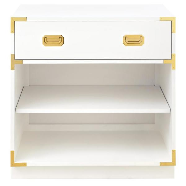 Home Decorators Collection Chatham 1-Drawer White Nightstand