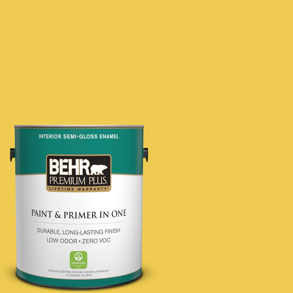 BEHR Premium Plus 1 gal. #P310-6 Radiant Sun Semi-Gloss Enamel Zero VOC Interior Paint and Primer in One