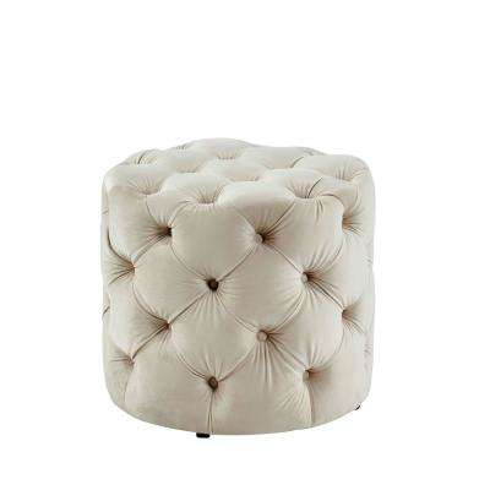 Nahnie Beige Button Tufted Ottoman