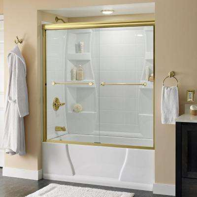 Crestfield 60 in. x 58-1/8 in. Semi-Frameless Sliding Bathtub Door in Brass with Clear Glass
