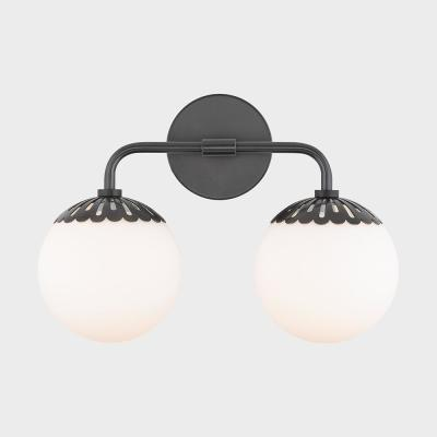 Henry 2-Light Old Bronze Bath Light with Opal Glossy Glass Shade