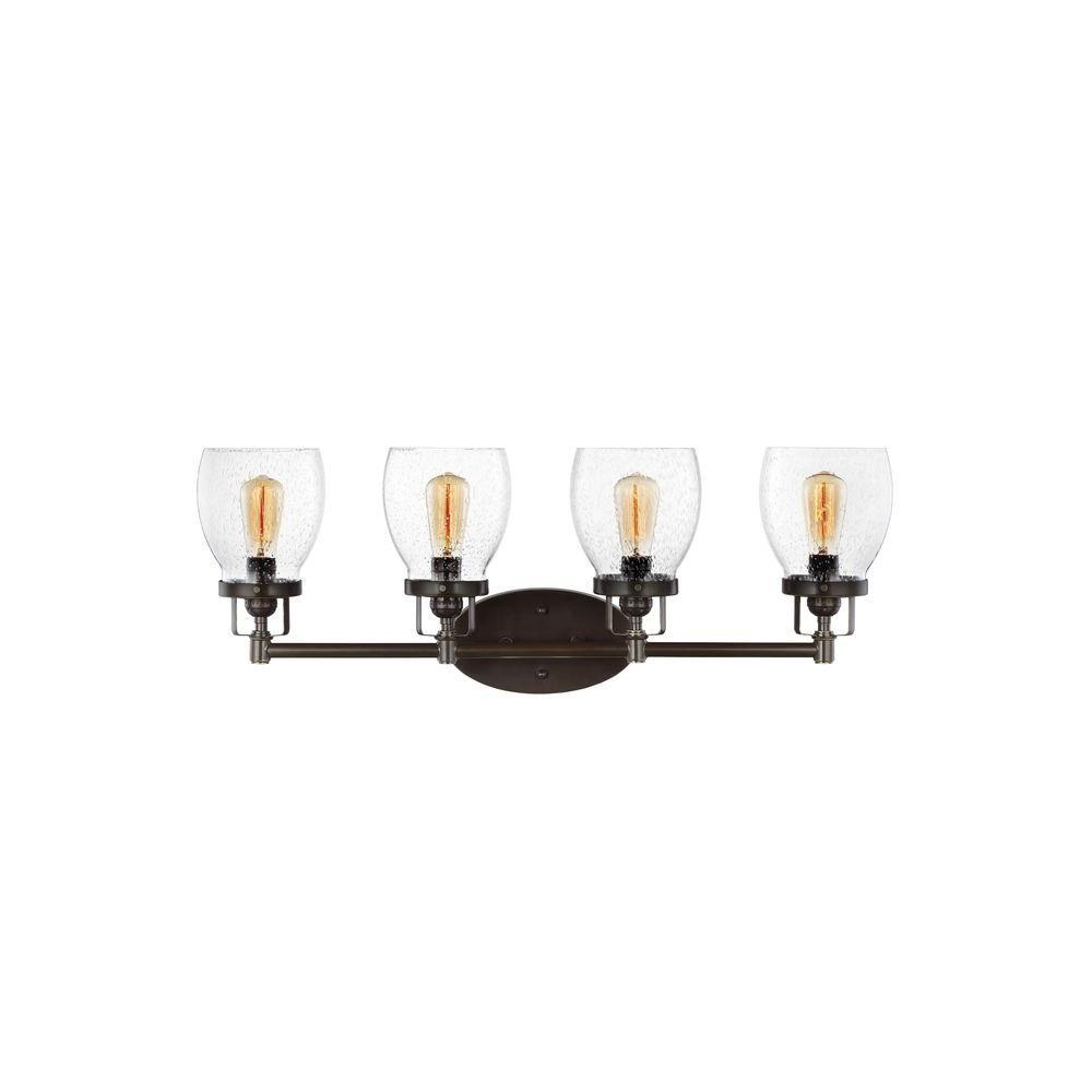 Sea gull lighting belton 4 light heirloom bronze vanity light 4414504 782 the home depot for Home depot bathroom lighting bronze