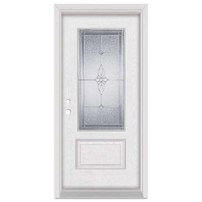 33.375 in. x 83 in. Victoria Right-Hand 3/4 Lite Zinc Finished Fiberglass Oak Woodgrain Prehung Front Door Brickmould
