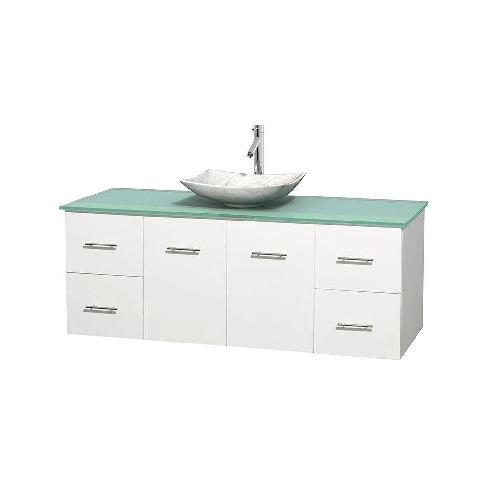 Wyndham Collection Centra 60 in. Vanity in White with Glass Vanity Top in Green and Carrara Sink