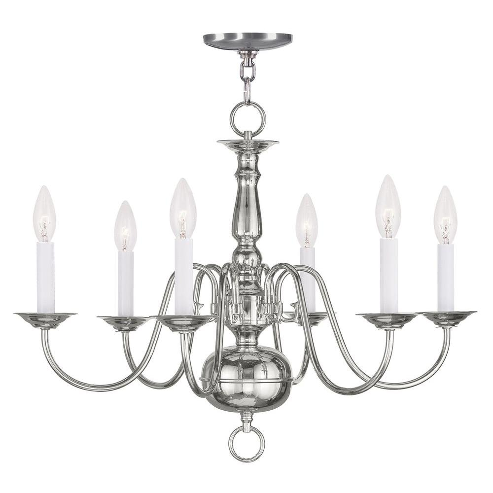 Livex Lighting Providence 6-Light Polished Nickel Incandescent Ceiling Chandelier