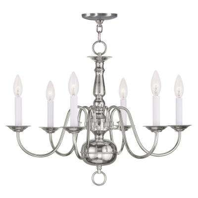 Providence 6-Light Polished Nickel Incandescent Ceiling Chandelier