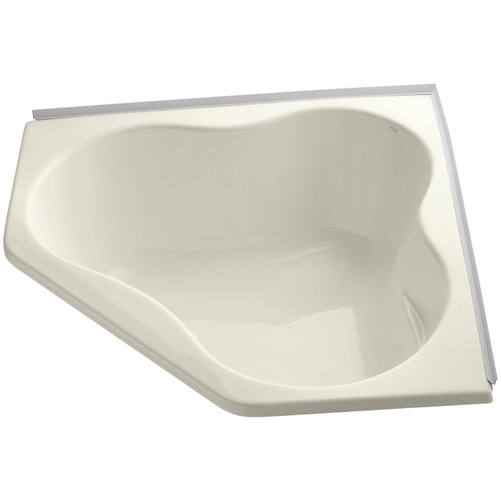 KOHLER 4.5 ft. Front Drain Corner Soaking Bathtub in Biscuit-K-1155 ...