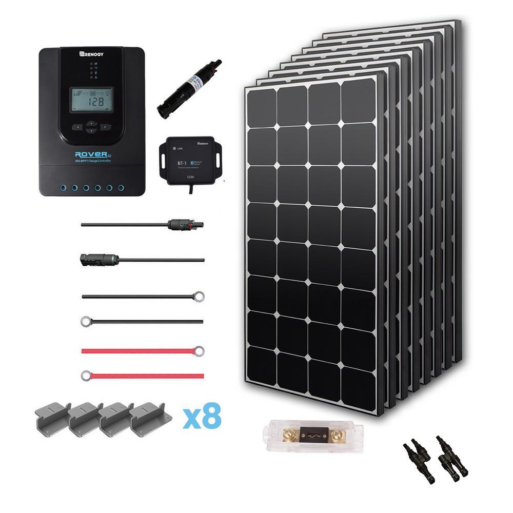 800-Watt 24-Volt Eclipse Monocrystalline Solar Panel Off-Grid Premium Kit 40 Amp MPPT Controller