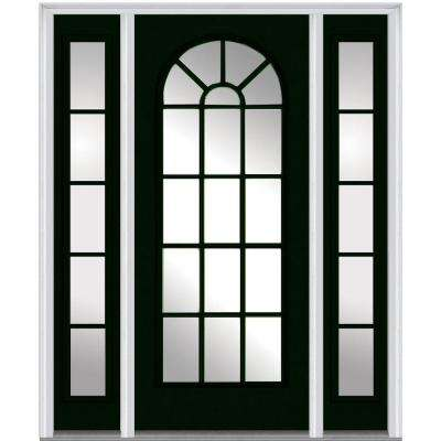 60 in. x 80 in. Classic Right-Hand Full Lite Round Top Clear Painted Fiberglass Smooth Prehung Front Door with Sidelites