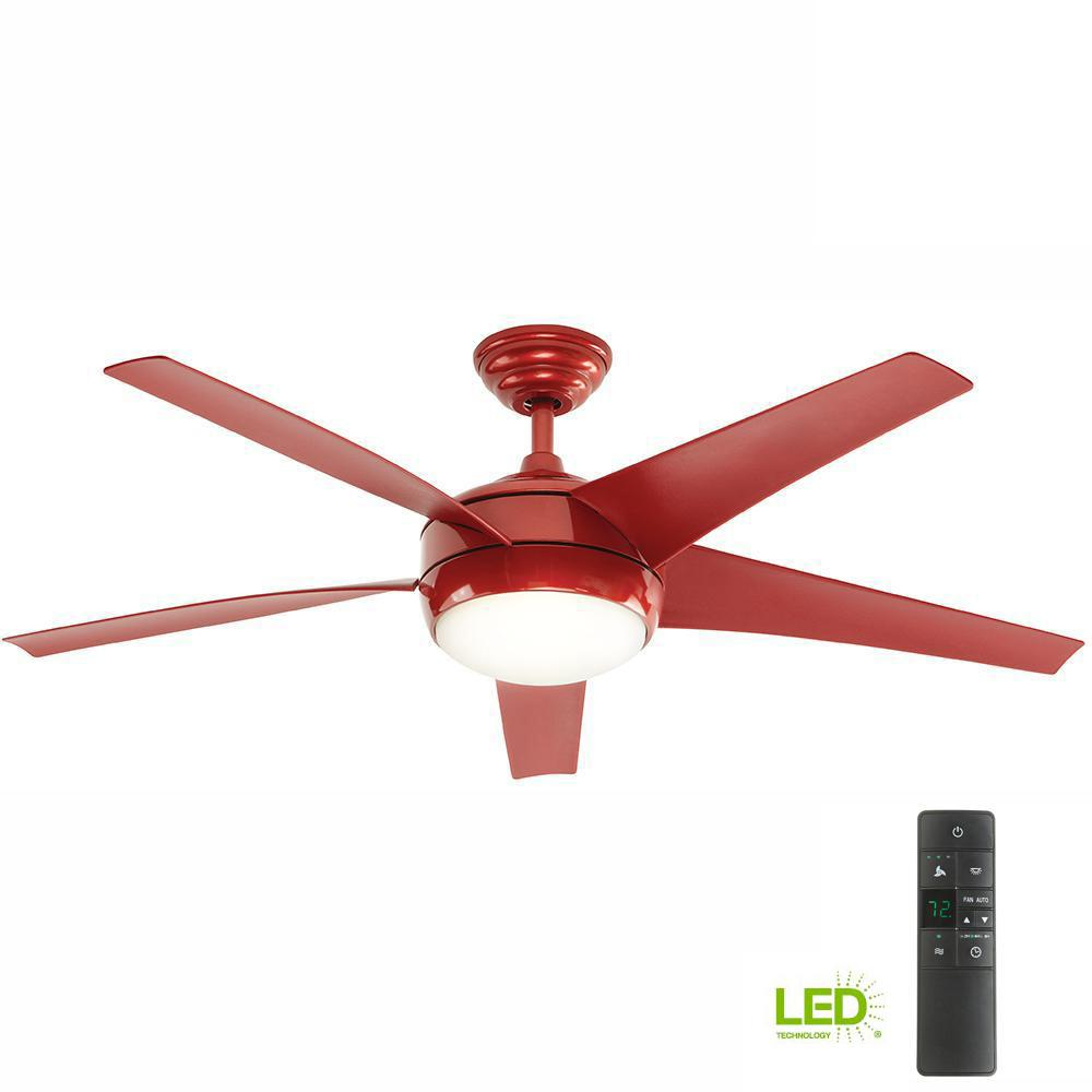Home Decorators Ceiling Fan LED Light Kit 52-Inch Indoor Red Remote ...