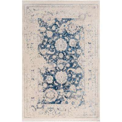 Theia Navy 9 ft. x 12 ft. 10 in. Distressed Oriental Area Rug