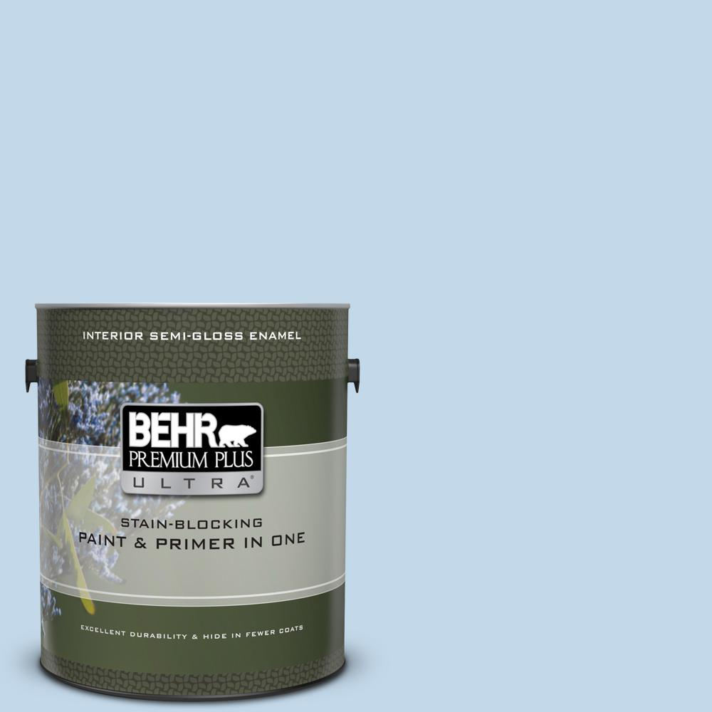 49ab55a120b8 BEHR Premium Plus Ultra 1 gal. Home Decorators Collection  HDC-CT-15 Summer  Sky Semi-Gloss Enamel Interior Paint   Primer