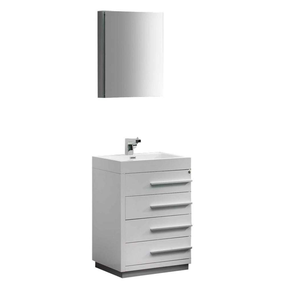 Fresca Livello 24 in. Vanity in White with Acrylic Vanity Top in White with White Basin and Mirrored Medicine Cabinet
