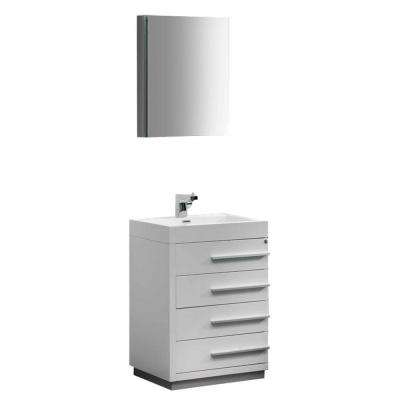 Livello 24 in. Vanity in White with Acrylic Vanity Top in White with White Basin and Mirrored Medicine Cabinet
