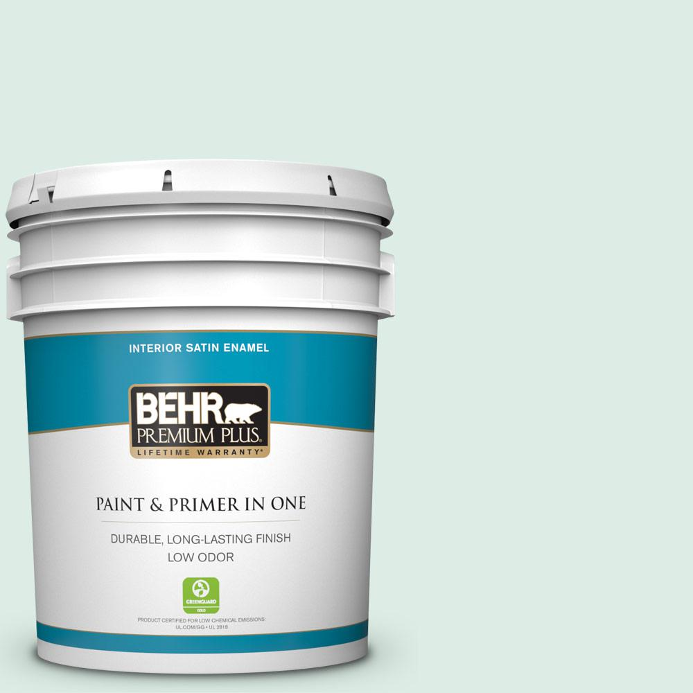 Behr Premium Plus 5 Gal M420 1 Sparkling Brook Satin Enamel Low Odor Interior Paint And Primer In One 705005 The Home Depot