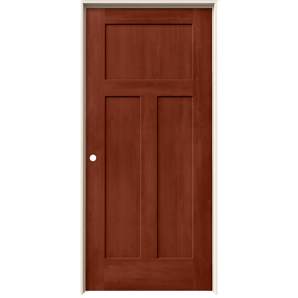 home depot jeld wen interior doors jeld wen 36 in x 80 in craftsman amaretto stain right 26758