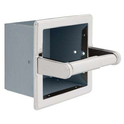 Recessed Extra Roll Toilet Paper Holder with Beveled Edges in Chrome